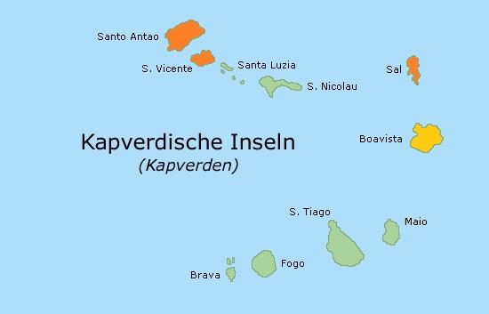 Kapverden Inselkarte Barlavento Sal -Sao Vicente - Santo Antao - Option Boa Vista