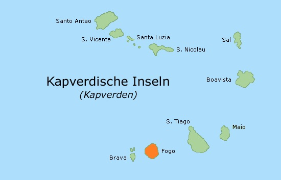 Map of geographcal situation of Fogo island in Cape Verde