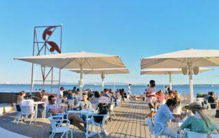Sidewalk-Café on the Tagus River in Lisbon
